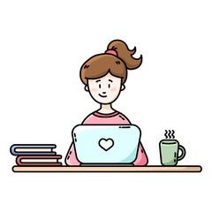Girl sitting in front of the laptop. Female blogger. Flat vector illustration.