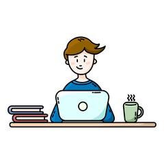 Boy sitting in front of the laptop. Male blogger. Flat vector illustration.