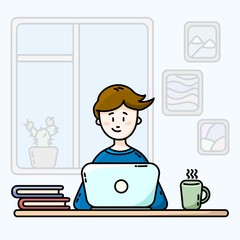 Boy in a room in front of the laptop. Male blogger. Flat vector illustration.