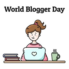 World Blogger Day postcard. Girl with laptop