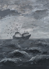 Fishing vessel in the open sea. Grisaille painting. Materials: paper, acrylic paints, brushes.