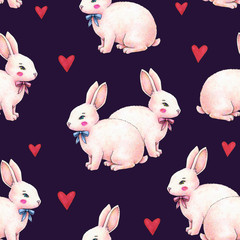 Lovely pink animation rabbit bunny hare with a bow in love on darkly blue background. Children fantastic drawing. Handwork drawing markers. Seamless pattern for design.