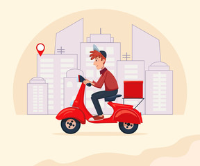 Fast Delivery food service by scooter with courier on city background. Vector cartoon character illustration. Delivery concept.