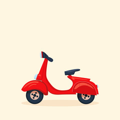 Vector cartoon illustration of red retro Scooter. Fast Delivery service concept.