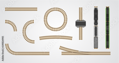 Train railroad and railway tracks set for construction isolated on
