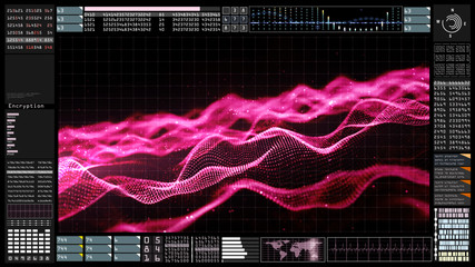 Technology Futuristic user interface head up display and particle flow. Earth element furnished by Nasa.