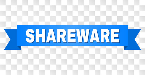 SHAREWARE text on a ribbon. Designed with white title and blue tape. Vector banner with SHAREWARE tag on a transparent background.