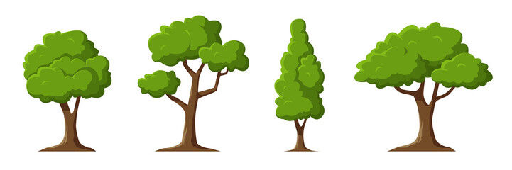Cartoon trees set isolated on a white background. Simple modern style. Cute green plants, forest. Can be used to illustrate any nature or healthy lifestyle topic. Flat style vector illustration. Fotoväggar