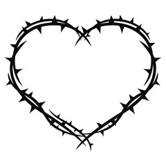 The heart in black sharp thorns. Vector image.