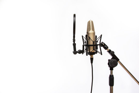 Studio recording mic isolated On a white background