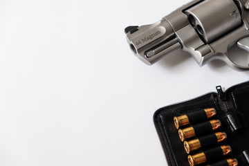 Classic revolver .44 magnum gun close up