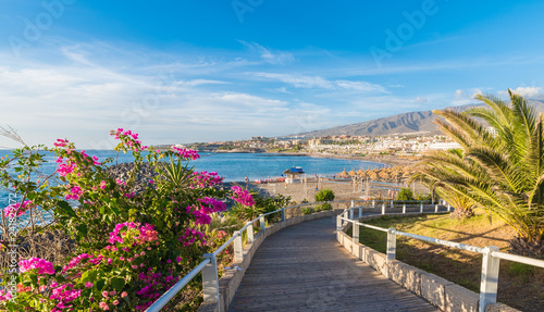 Wall mural Landscape with Fanabe beach at Adeje Coast, Tenerife, Canary Islands, Spain