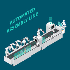 Assembly Line Isometric Background