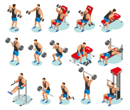 Body Building Isometric Icons