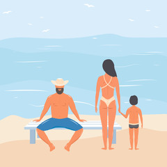 Family on the beach. Spouses with child on the ocean. vector