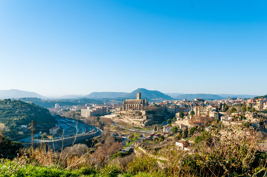 different and original view of Manresa city in catalunya region in Spain, with landscape of all the city