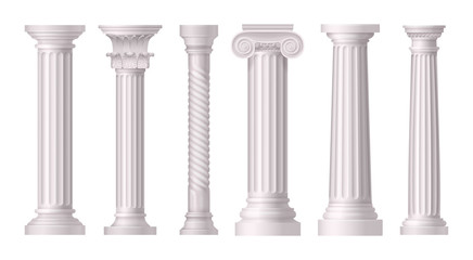 Antique White Columns Realistic Icon Set Fototapete