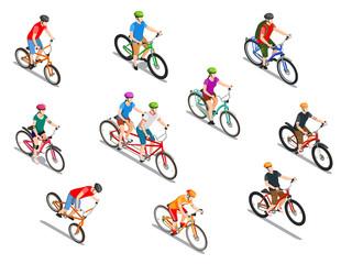 Cyclists Isometric Icons Set