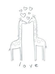 Cute illustration of giraffes in love.