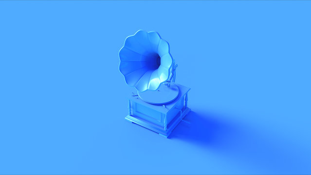 Blue Vintage Gramophone 3d illustration 3d render