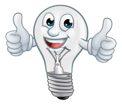 A light bulb cartoon character lightbulb mascot giving a thumbs up