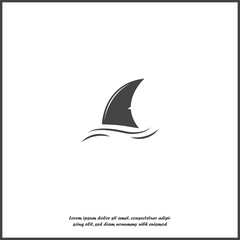 Shark fin vector icon. Fin in the water on white isolated background.