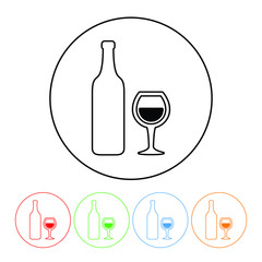 Wine symbol icon in a thin line style vector wine bottle and glass symbol sign with four color variations vector illustration isolated on a white background