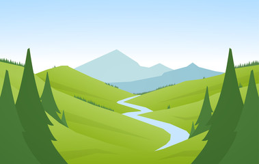 Fotobehang Pistache Vector illustration: Cartoon flat summer mountains landscape with green hills, pine forest and river