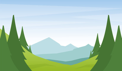 Vector illustration: Cartoon flat summer mountains landscape with green hills and pine forest on foreground.