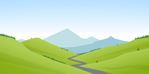 Vector illustration: Cartoon flat summer mountains landscape with green hills and road.