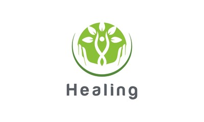 Healing, Therapy, health care, natural care vector logo design inspira
