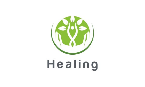 Healing, Therapy, health care, natural care vector logo design inspira