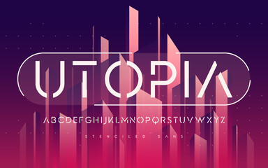 Stenciled minimal san serif, alphabet, uppercase letters, typogr
