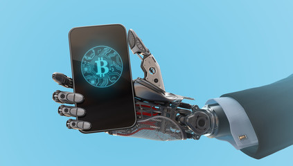 Robot arm holding smartphone 3d illustration