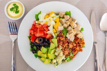 Cobb salad on white plate, with bacon, blue cheese, grilled chicken, cubed cut tomatoes and avocados, olives, and chopped lecttuce