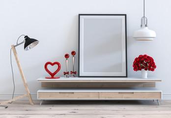 mock up poster frame with red rose valentine on sideboard interior living room. 3D render