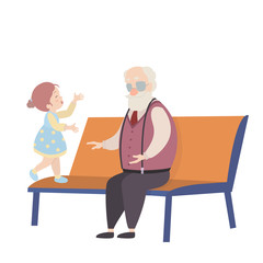 Grandfather and granddaughter cartoon characters on white background.