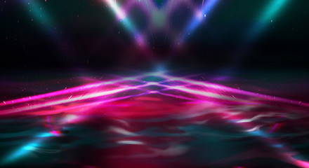 Background wall with neon lines and rays. Background of an empty dark corridor with neon light. Abstract background with lines and glow.