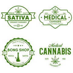 Set of Modern vintage cannabis logo labels badges templates. Medical marijuana logotypes.