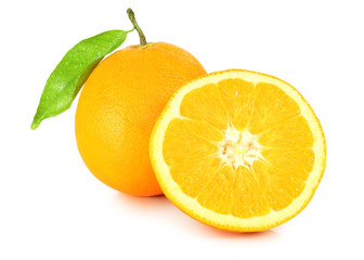 Fresh oranges (Citrus) with leaf isolated on white background, including clipping path without shade. Germany