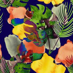 Modèle Sans Couture Aquarelle Tropicale, Mode Moderne Botanique. Design textile bohème exotique Monstera. Impressions de mode vintage d& 39 hiver, d& 39 été, motif floral peint éclectique. Gouttes et Monstera.