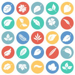 Leafs icon set on color circles background for graphic and web design, Modern simple vector sign. Internet concept. Trendy symbol for website design web button or mobile app