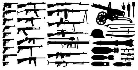 Firearms arsenal, military weapons collection. Isolated set vector silhouette. Objects pistol, machine gun, sniper rifle, grenade launcher, submachine gun. Retro, World War 2