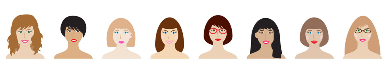 Faces of women set vector illustration. Beautiful young girls portrait avatar, isolated