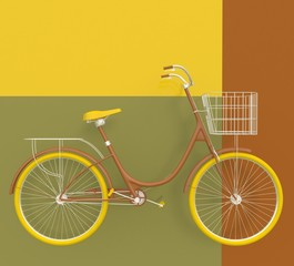 Old retro bicycle painted in bright colors on a colorful background. Abstract concept. 3D render.