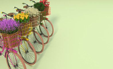 Set of old retro bicycles with multicolored flowers in baskets stand in a row on a light green background. Copy space. 3D render.