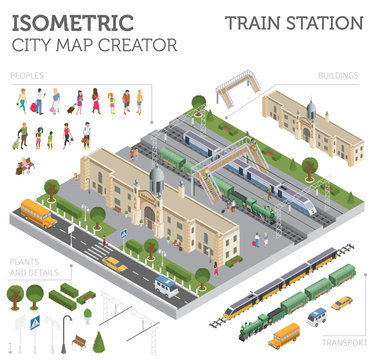 3d isometric Train station and city map constructor elements isolated on white. Build your own railway infographic collection