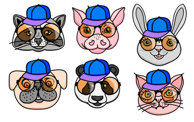 Vector Set character Animal head dog, raccoon, pig, panda, cat in a cap and fun round glasses. Hand drawn isolated on white