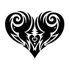 Heart in tattoo style, lace heart-shaped pattern, black and white vector illustration.