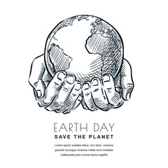Earth Day vector sketch illustration. Hands holding Earth planet. Banner, poster design for environmental ecology themes